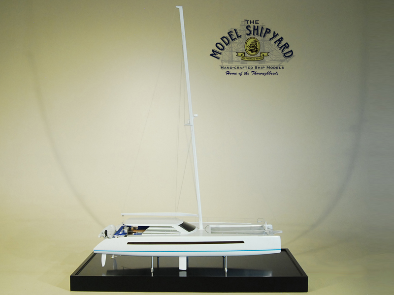 High Performance Catamaran Wooden Scale Model Ship Starboard